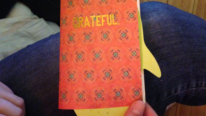 foto van boekje met titel grateful, tijdens traject Sterk Leiderschap, voor artikel job opgeven
